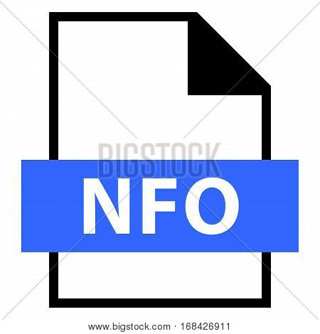 Use it in all your designs. Filename extension icon NFO contraction of INFO or INFORMATION in flat style. Quick and easy recolorable shape. Vector illustration a graphic element.