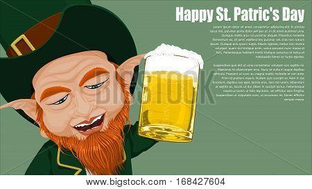 Closeup of Leprechaun on Viridian background for St. Patrick's day celebration