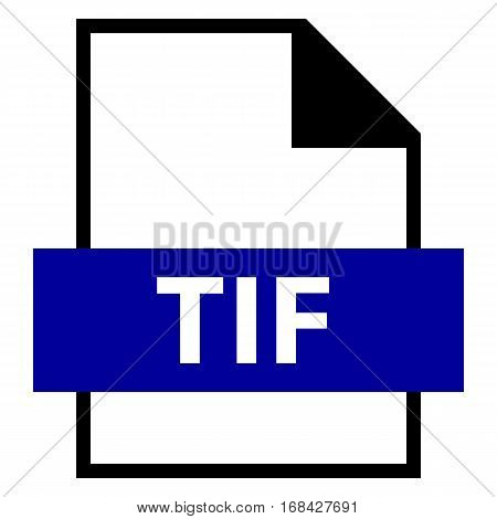 Use it in all your designs. Filename extension icon TIF or TIFF Tagged Image File Format in flat style. Quick and easy recolorable shape. Vector illustration a graphic element.