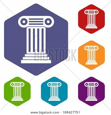 Roman column icons set rhombus in different colors isolated on white background