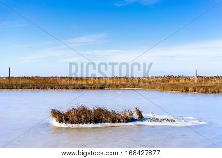 Froze The Lagoon Kalochori In Northern Greece