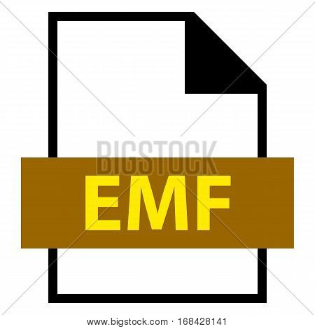 Use it in all your designs. Filename extension icon EMF Enhanced MetaFile in flat style. Quick and easy recolorable shape. Vector illustration a graphic element.