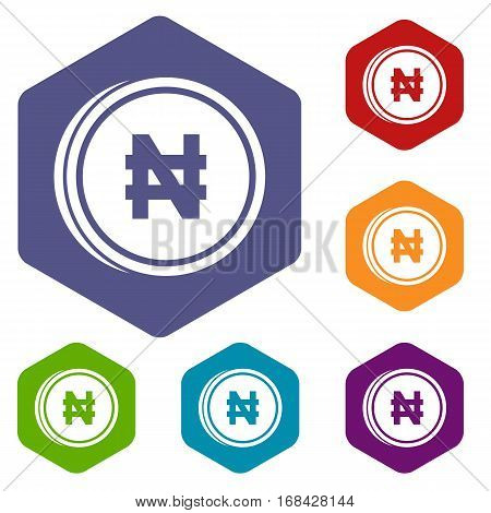 Coin naira icons set rhombus in different colors isolated on white background