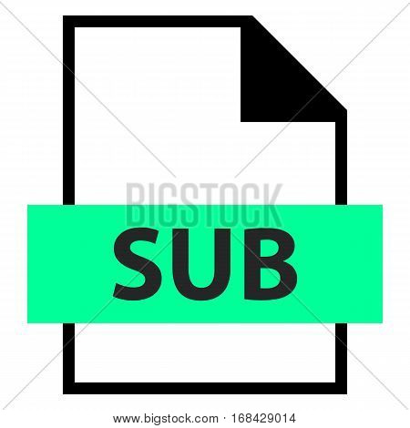 Use it in all your designs. Filename extension icon SUB Subtitle File or Subchannel Data File in flat style. Quick and easy recolorable shape. Vector illustration a graphic element.