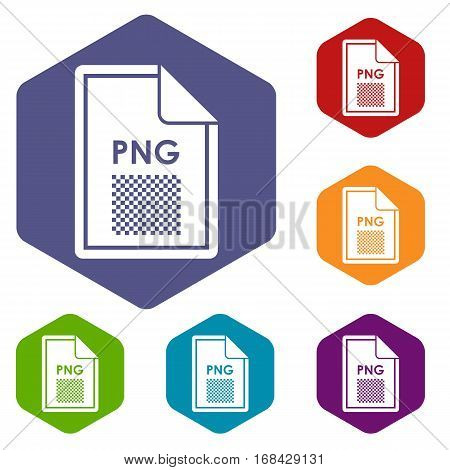 File PNG icons set rhombus in different colors isolated on white background poster