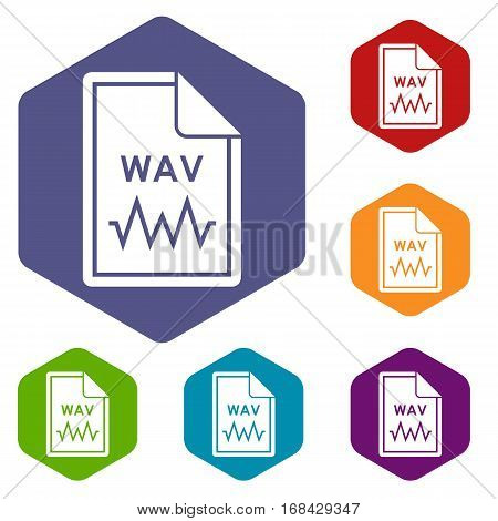 File WAV icons set rhombus in different colors isolated on white background