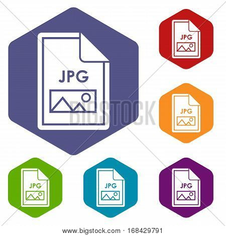 File JPG icons set rhombus in different colors isolated on white background