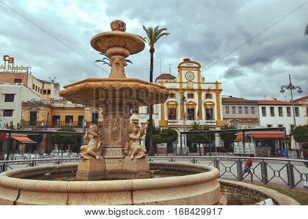 MERIDA SPAIN - SEPTEMBER 29: Merida Plaza de Espana Badajoz province Extremadura Ruta de la Plata in cloudy day