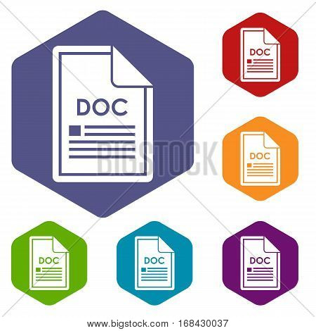 File DOC icons set rhombus in different colors isolated on white background