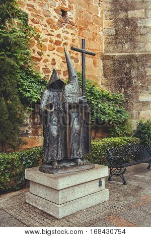 CACERES SPAIN - September 29 2013: Statue In Tribute To The Caceres Easter in Caceres