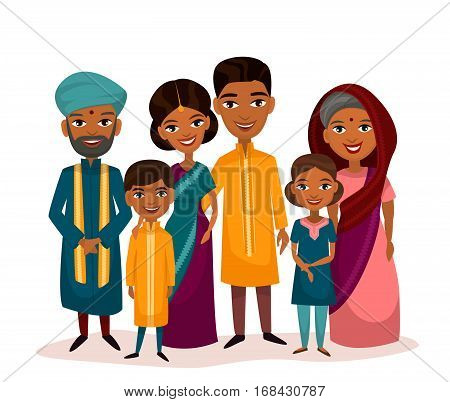 Big happy indian family in national dress isolated vector illustration. Parents, grandparents and children cartoon characters. Indian family generations standing together, senior couple with grandchildren. Indian family characters. Funny family of indian