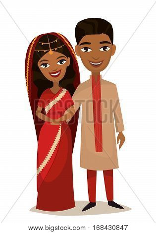 Happy indian young family couple in national dress isolated vector illustration. Smiling boyfriend and girlfriend characters. Young indian people portrait, lovely family couple standing together. Indian family characters. Funny family of indian people