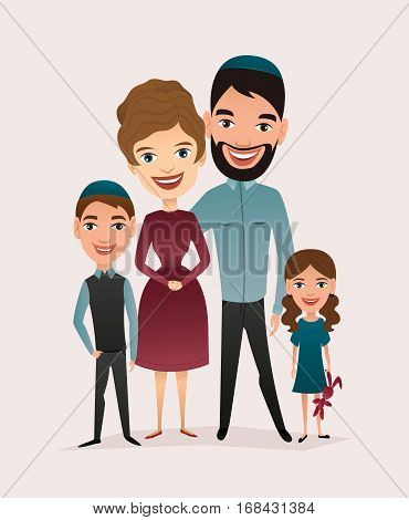Happy jewish family couple with children isolated vector illustration. Husband, wife, daughter and son characters. Smiling young people portrait, big happy family with kids standing together. Jewish family characters. Funny family of jewish people.