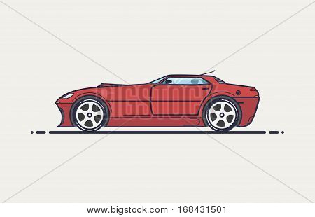 Red sport car with long hood and big wheels.