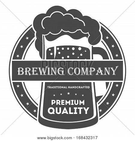Beer pub vintage isolated label vector illustration. Brewing company symbols. Best craft beer premium quality icon. Fresh brewed product. Beer glass symbol