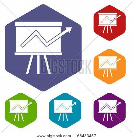 Flip chart with statistics icons set rhombus in different colors isolated on white background