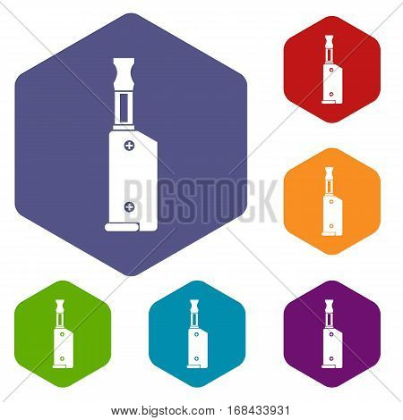 Electronic cigarette with mouthpiece icons set rhombus in different colors isolated on white background
