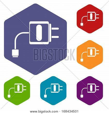 Mini charger icons set rhombus in different colors isolated on white background