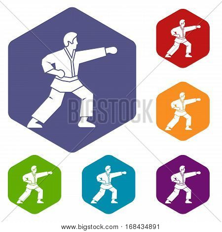 Aikido fighter icons set rhombus in different colors isolated on white background