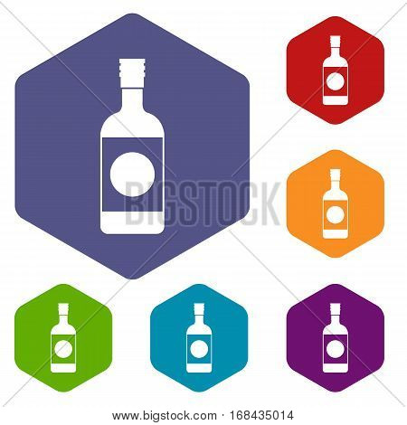 Japanese sake icons set rhombus in different colors isolated on white background