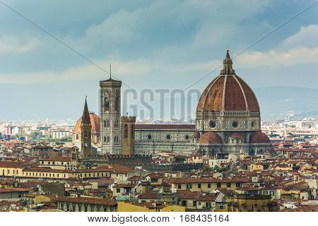 panoramic view od Florence Duomo Santa Maria in Fiore with the Giotto tower bell and the Brunelleschi Dome