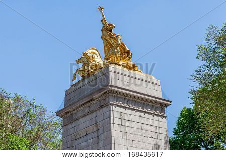 New York USA- May 20 2014. The USS Maine National Monument On Columbus Circle Near Central Park in New York USA.
