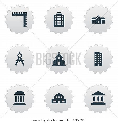 Set Of 9 Simple Structure Icons. Can Be Found Such Elements As Booth, Offices, Residence And Other.