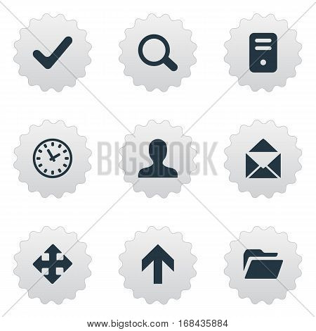 Set Of 9 Simple Apps Icons. Can Be Found Such Elements As Envelope, Check, Dossier And Other.