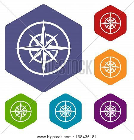 Sign of compass to determine cardinal directions icons set rhombus in different colors isolated on white background