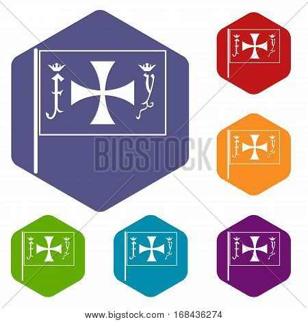 Flag of Columbus icons set rhombus in different colors isolated on white background