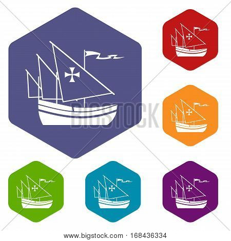 Ship of Columbus icons set rhombus in different colors isolated on white background