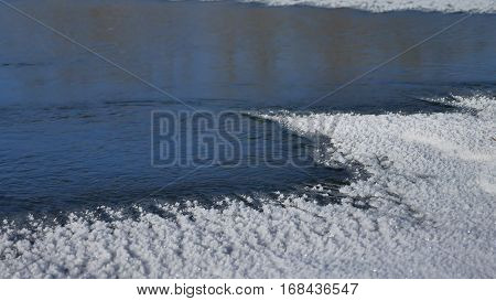 river winter ice snow, flowing blue water flow, nature of a winter landscape