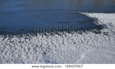 river winter ice snow, flowing blue water flow, nature of winter landscape