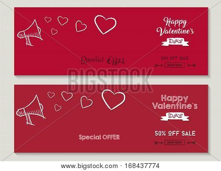 Valentines day set of special sale designs red color discount social media cover templates for business or shop holiday with hand drawn elements. EPS10 vector.