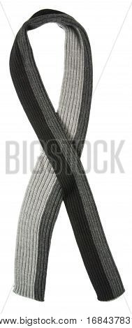 Scarf Isolated On White Background.scarf  Top View .black Gray Scarf .