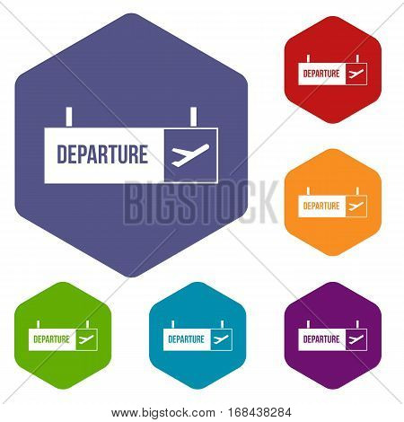 Airport departure sign icons set rhombus in different colors isolated on white background