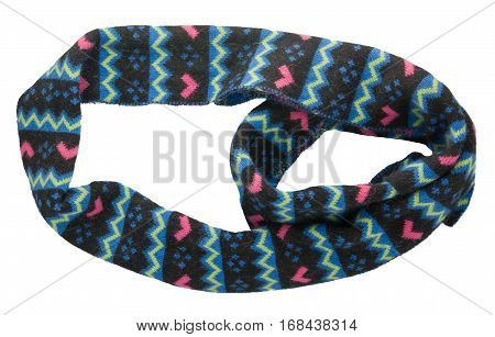 Scarf Isolated On White Background.scarf  Top View . Black Blue Pink Scarf .
