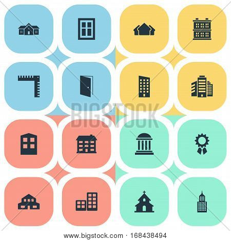Set Of 16 Simple Structure Icons. Can Be Found Such Elements As Floor, Shelter, Academy And Other.
