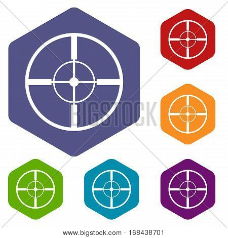 Aim icons set rhombus in different colors isolated on white background
