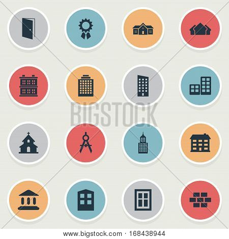 Set Of 16 Simple Architecture Icons. Can Be Found Such Elements As Gate, Block, Shelter And Other.