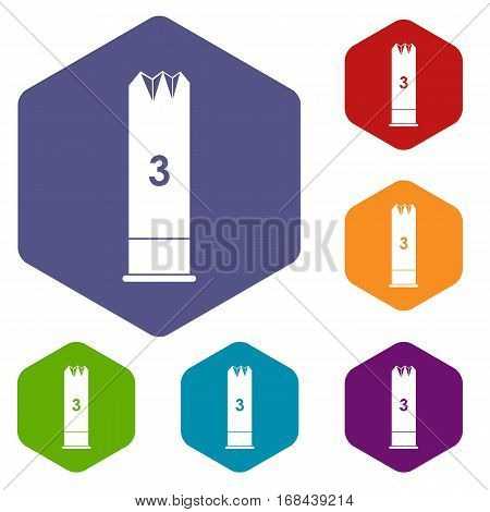 Expanding bullets icons set rhombus in different colors isolated on white background