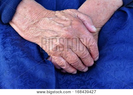Hands of an old woman folded in her lap black and white closeup.