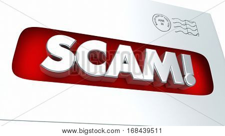 Scam Mail Fraud Envelope Illegal Scheme 3d Illustration