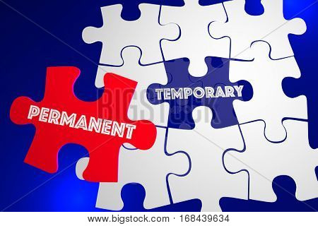Permanent Vs Temporary Solution Problem Solved Puzzle 3d Illustration