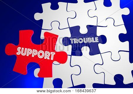 Trouble Problem Issue Solved Customer Support Service Puzzle 3d Illustration