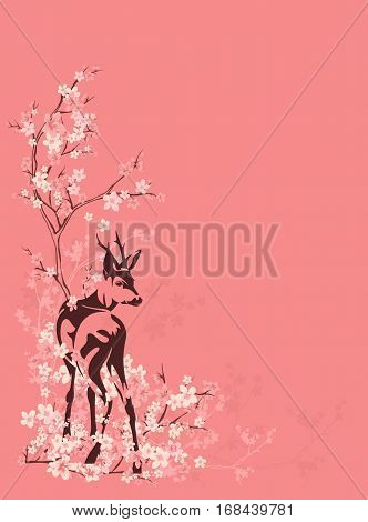 wild deer among blooming sakura tree branches - spring season vector copyspace background