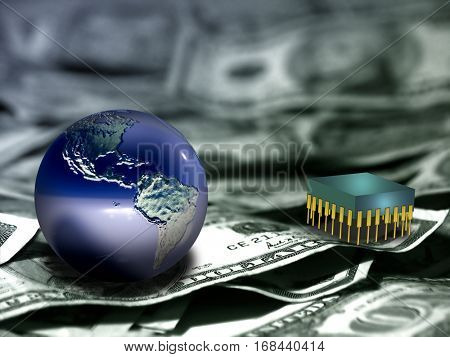 Globe and microchip on US dollars.  Some elements provided courtesy of NASA   3D Render