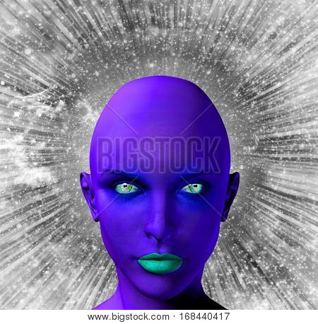 Woman's face in violet-blue color. Rays of light and stars.  3D Render