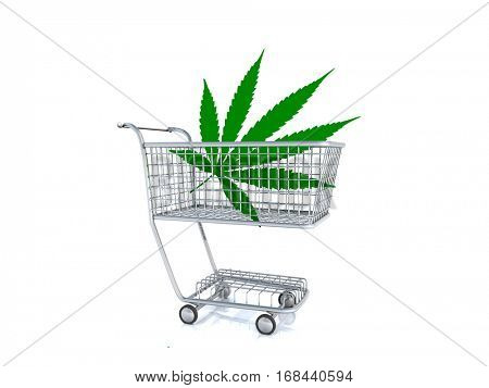 Marijuana leaf in a cart. 3D Render