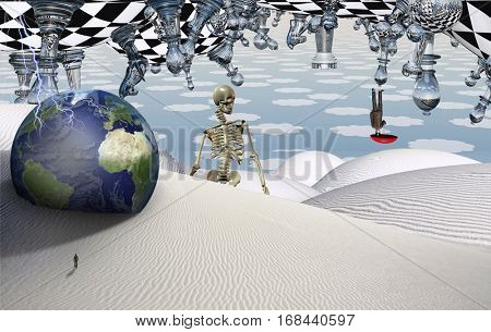 Surreal desert with chess figures. Globe and figure of man in a distance. Man flies with umbrella. Skeleton. 3D Render